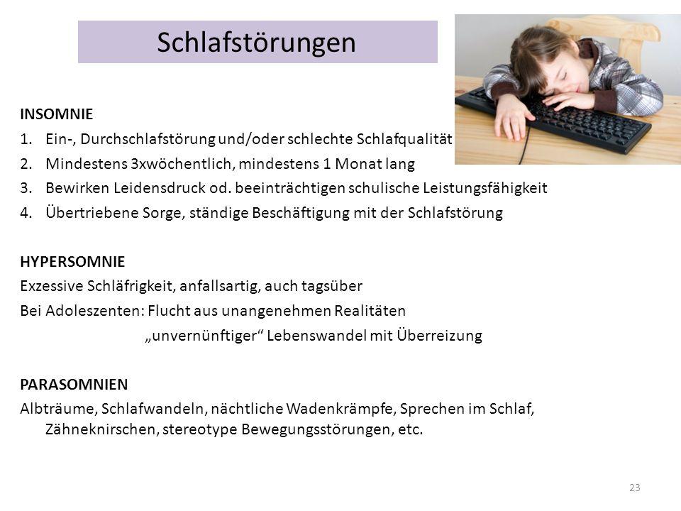 Schlafstörungen INSOMNIE 1.Ein-, Durchschlafstörung und/oder schlechte Schlafqualität 2.Mindestens 3xwöchentlich, mindestens 1 Monat lang 3.Bewirken L