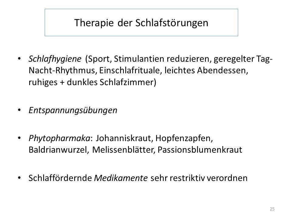 Therapie der Schlafstörungen Schlafhygiene (Sport, Stimulantien reduzieren, geregelter Tag- Nacht-Rhythmus, Einschlafrituale, leichtes Abendessen, ruh