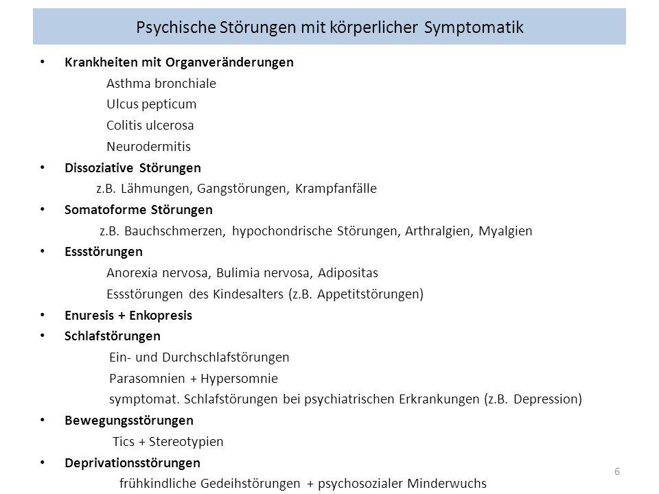 Psychische Störungen mit körperlicher Symptomatik Krankheiten mit Organveränderungen Asthma bronchiale Ulcus pepticum Colitis ulcerosa Neurodermitis D