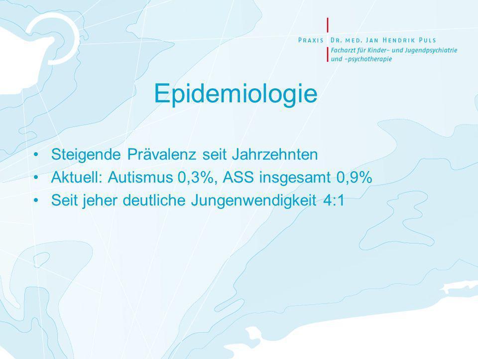Epidemiologie Steigende Prävalenz seit Jahrzehnten Aktuell: Autismus 0,3%, ASS insgesamt 0,9% Seit jeher deutliche Jungenwendigkeit 4:1