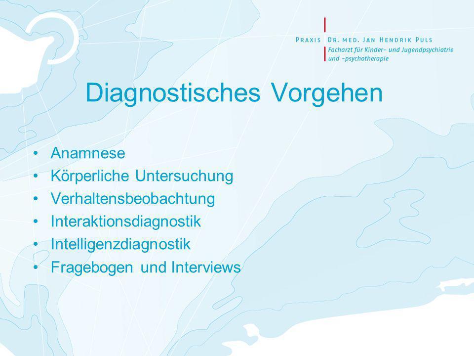 Diagnostisches Vorgehen Anamnese Körperliche Untersuchung Verhaltensbeobachtung Interaktionsdiagnostik Intelligenzdiagnostik Fragebogen und Interviews