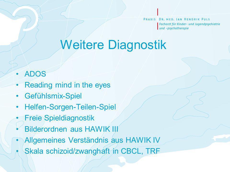 Weitere Diagnostik ADOS Reading mind in the eyes Gefühlsmix-Spiel Helfen-Sorgen-Teilen-Spiel Freie Spieldiagnostik Bilderordnen aus HAWIK III Allgemei
