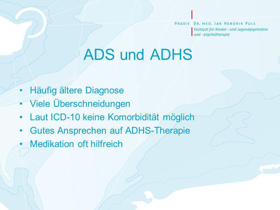 ADS und ADHS Häufig ältere Diagnose Viele Überschneidungen Laut ICD-10 keine Komorbidität möglich Gutes Ansprechen auf ADHS-Therapie Medikation oft hilfreich