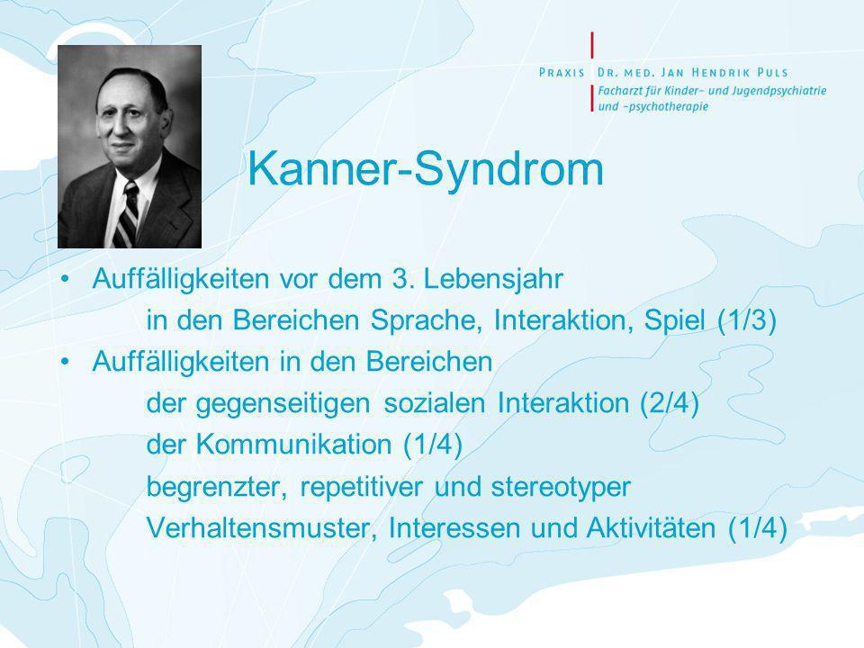Kanner-Syndrom Auffälligkeiten vor dem 3. Lebensjahr in den Bereichen Sprache, Interaktion, Spiel (1/3) Auffälligkeiten in den Bereichen der gegenseit