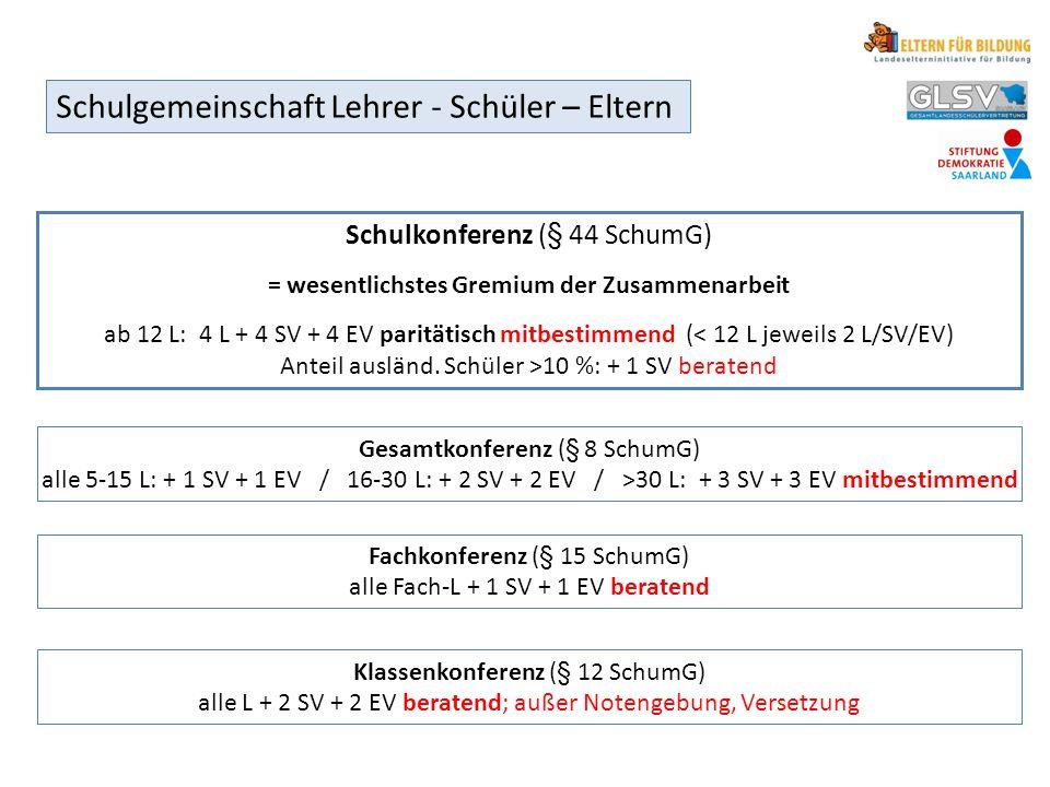 Fachkonferenz (§ 15 SchumG) alle Fach-L + 1 SV + 1 EV beratend Gesamtkonferenz (§ 8 SchumG) alle 5-15 L: + 1 SV + 1 EV / 16-30 L: + 2 SV + 2 EV / >30