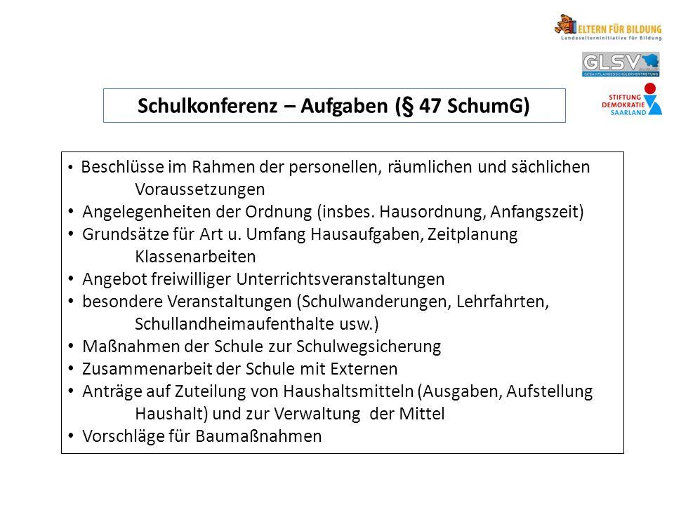 Schulkonferenz – Aufgaben (§ 47 SchumG) Beschlüsse im Rahmen der personellen, räumlichen und sächlichen Voraussetzungen Angelegenheiten der Ordnung (i