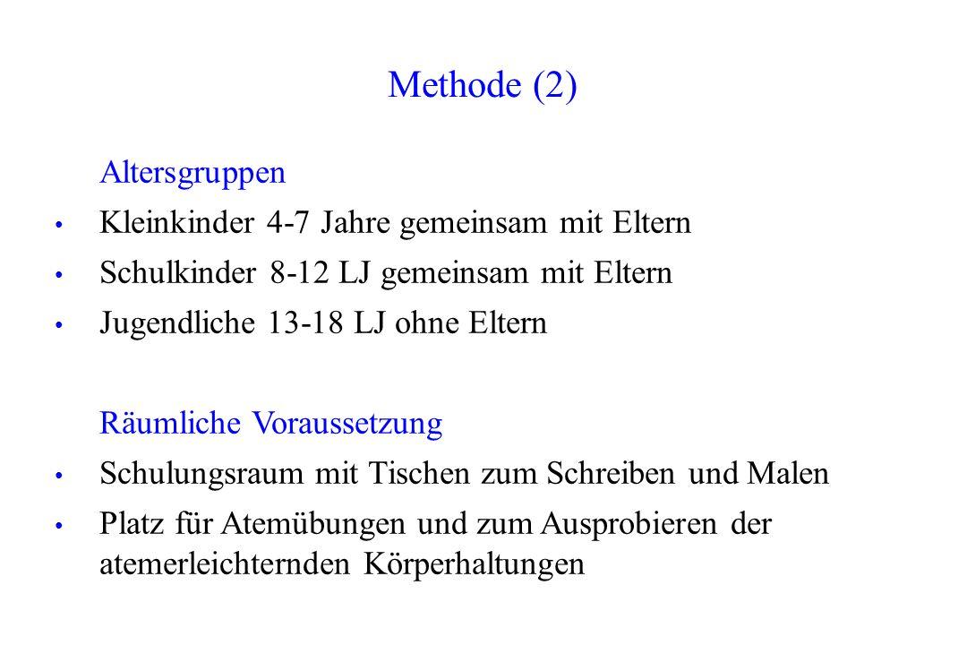Methode (2) Altersgruppen Kleinkinder 4-7 Jahre gemeinsam mit Eltern Schulkinder 8-12 LJ gemeinsam mit Eltern Jugendliche 13-18 LJ ohne Eltern Räumlic