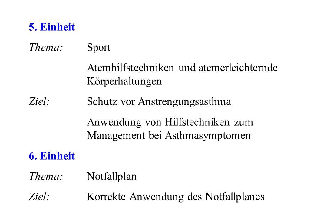 5. Einheit Thema: Sport Atemhilfstechniken und atemerleichternde Körperhaltungen Ziel: Schutz vor Anstrengungsasthma Anwendung von Hilfstechniken zum