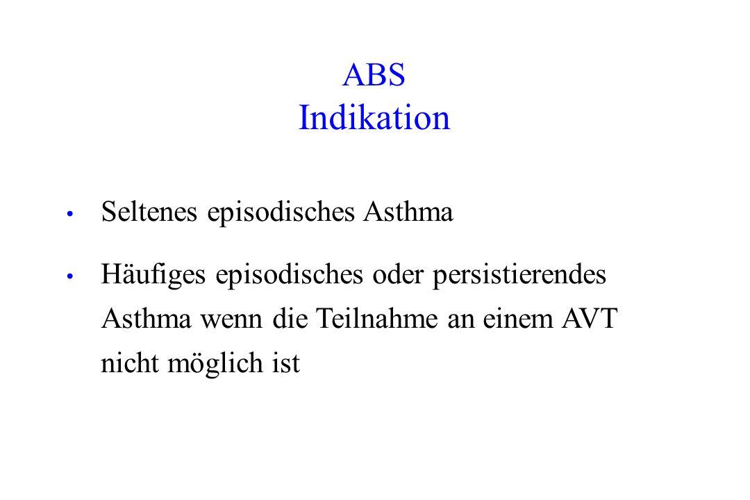 Seltenes episodisches Asthma Häufiges episodisches oder persistierendes Asthma wenn die Teilnahme an einem AVT nicht möglich ist ABS Indikation