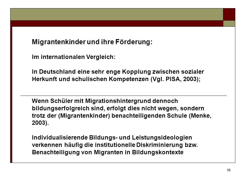 10 Migrantenkinder und ihre Förderung: Im internationalen Vergleich: In Deutschland eine sehr enge Kopplung zwischen sozialer Herkunft und schulischen