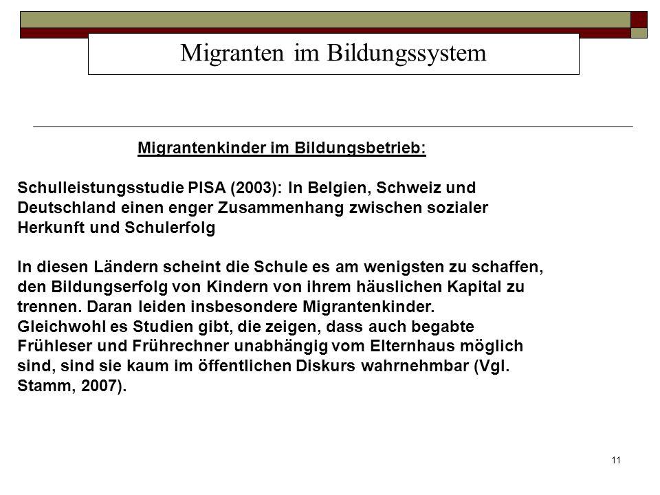 11 Migranten im Bildungssystem Migrantenkinder im Bildungsbetrieb: Schulleistungsstudie PISA (2003): In Belgien, Schweiz und Deutschland einen enger Z