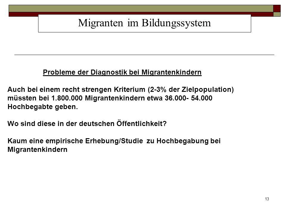 13 Migranten im Bildungssystem Probleme der Diagnostik bei Migrantenkindern Auch bei einem recht strengen Kriterium (2-3% der Zielpopulation) müssten