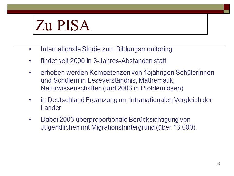 19 Zu PISA Internationale Studie zum Bildungsmonitoring findet seit 2000 in 3-Jahres-Abständen statt erhoben werden Kompetenzen von 15jährigen Schüler