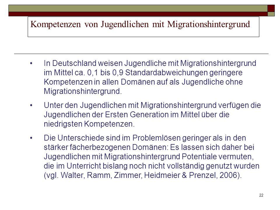 22 Kompetenzen von Jugendlichen mit Migrationshintergrund In Deutschland weisen Jugendliche mit Migrationshintergrund im Mittel ca. 0,1 bis 0,9 Standa