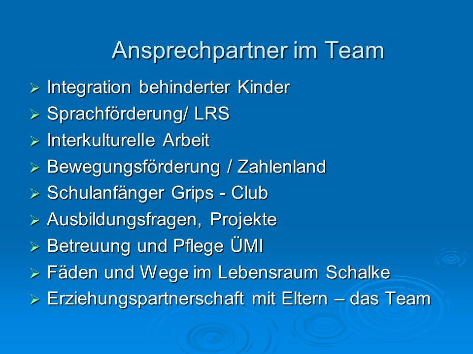 Ansprechpartner im Team Integration behinderter Kinder Integration behinderter Kinder Sprachförderung/ LRS Sprachförderung/ LRS Interkulturelle Arbeit