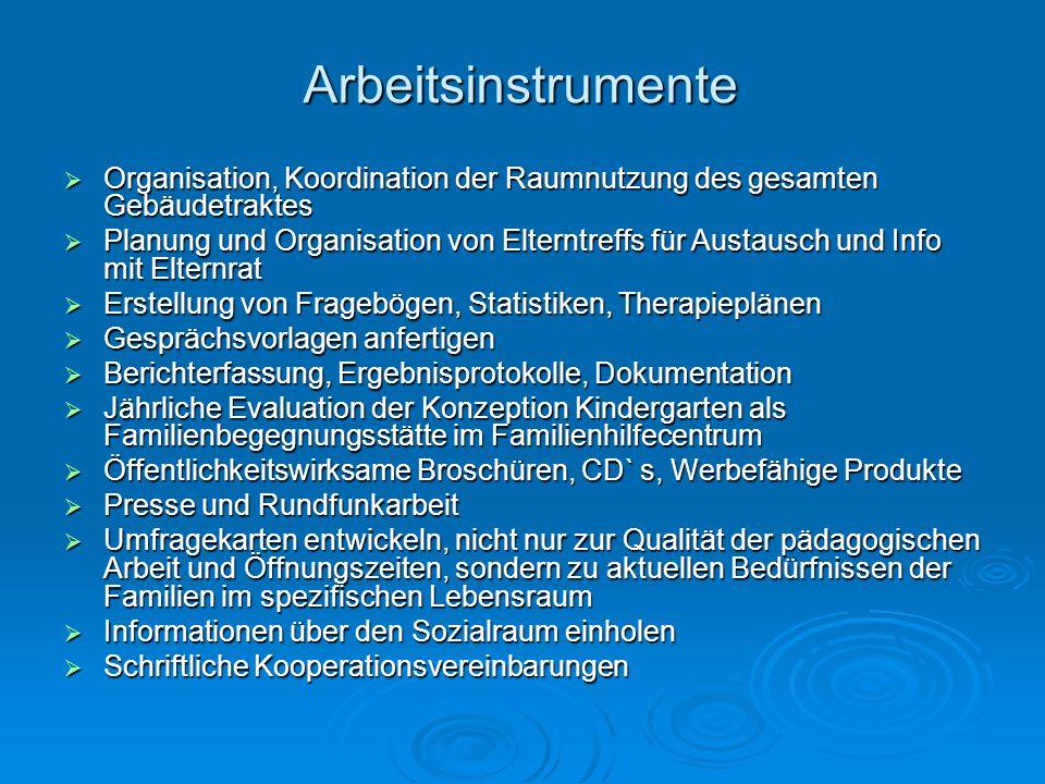 Arbeitsinstrumente Organisation, Koordination der Raumnutzung des gesamten Gebäudetraktes Planung und Organisation von Elterntreffs für Austausch und