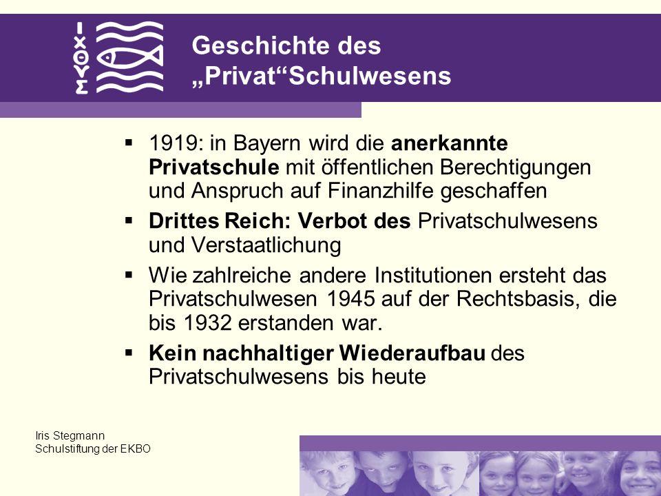 Geschichte des PrivatSchulwesens 1919: in Bayern wird die anerkannte Privatschule mit öffentlichen Berechtigungen und Anspruch auf Finanzhilfe geschaffen Drittes Reich: Verbot des Privatschulwesens und Verstaatlichung Wie zahlreiche andere Institutionen ersteht das Privatschulwesen 1945 auf der Rechtsbasis, die bis 1932 erstanden war.