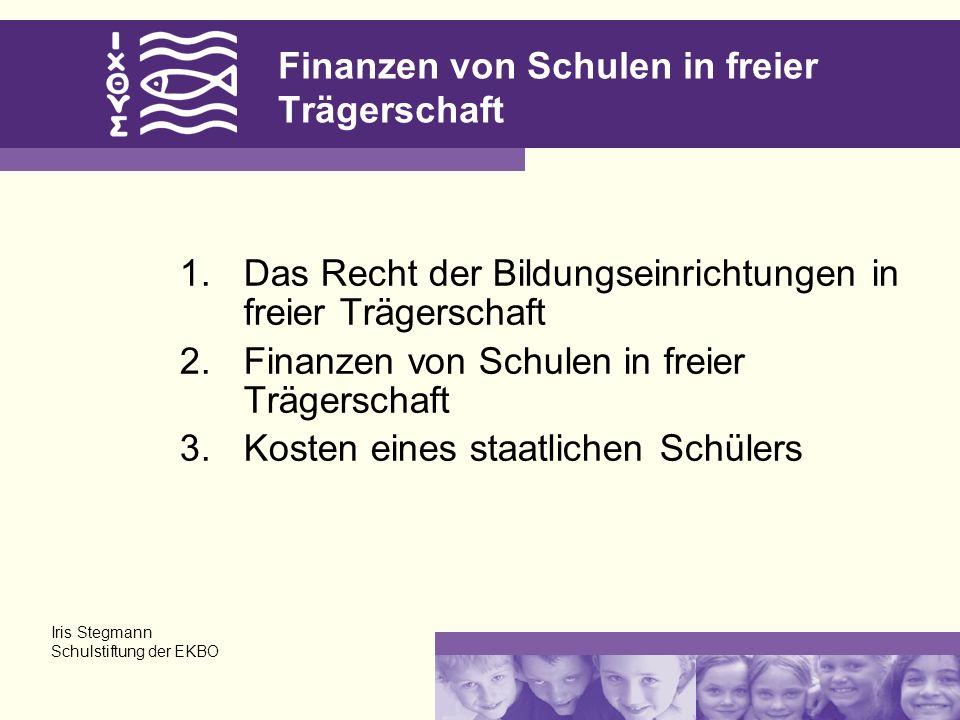 Finanzen von Schulen in freier Trägerschaft 1.Das Recht der Bildungseinrichtungen in freier Trägerschaft 2.Finanzen von Schulen in freier Trägerschaft