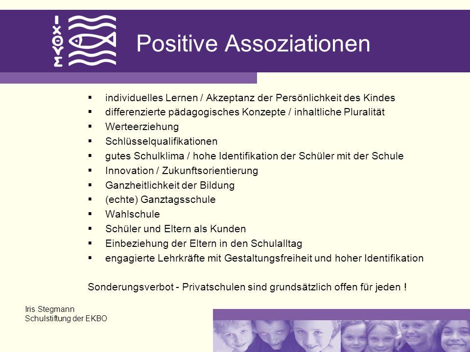 Positive Assoziationen individuelles Lernen / Akzeptanz der Persönlichkeit des Kindes differenzierte pädagogisches Konzepte / inhaltliche Pluralität W