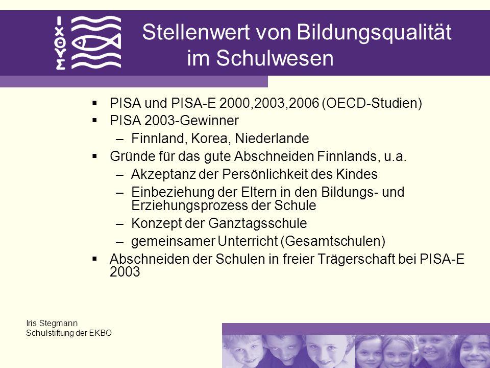 Stellenwert von Bildungsqualität im Schulwesen PISA und PISA-E 2000,2003,2006 (OECD-Studien) PISA 2003-Gewinner –Finnland, Korea, Niederlande Gründe für das gute Abschneiden Finnlands, u.a.