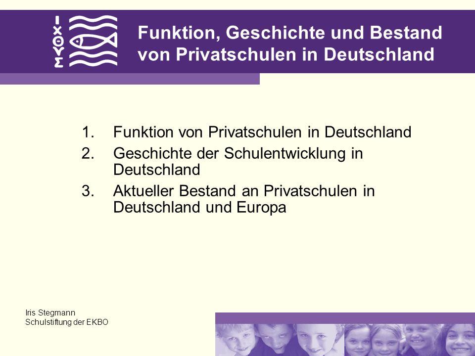Funktion, Geschichte und Bestand von Privatschulen in Deutschland 1.Funktion von Privatschulen in Deutschland 2.Geschichte der Schulentwicklung in Deu