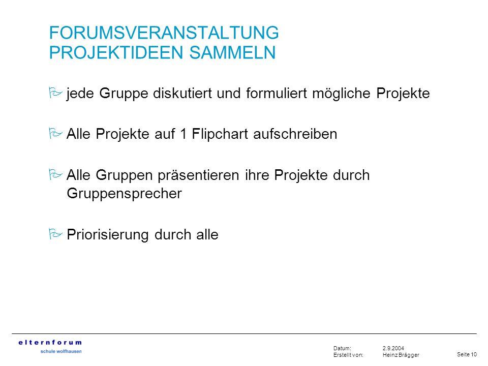 Seite 10 2.9.2004 Heinz Brägger Datum: Erstellt von: FORUMSVERANSTALTUNG PROJEKTIDEEN SAMMELN jede Gruppe diskutiert und formuliert mögliche Projekte