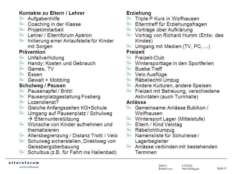 Seite 11 2.9.2004 Heinz Brägger Datum: Erstellt von: Kontakte zu Eltern / Lehrer Aufgabenhilfe Coaching in der Klasse Projektmitarbeit Lehrer / Eltern