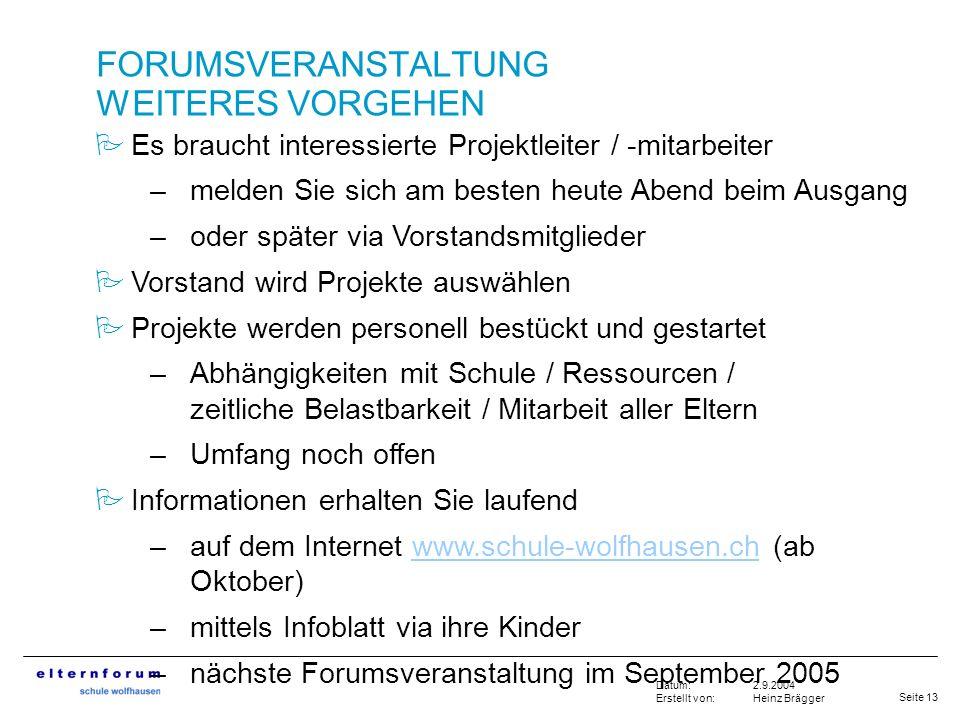 Seite 13 2.9.2004 Heinz Brägger Datum: Erstellt von: FORUMSVERANSTALTUNG WEITERES VORGEHEN Es braucht interessierte Projektleiter / -mitarbeiter –meld