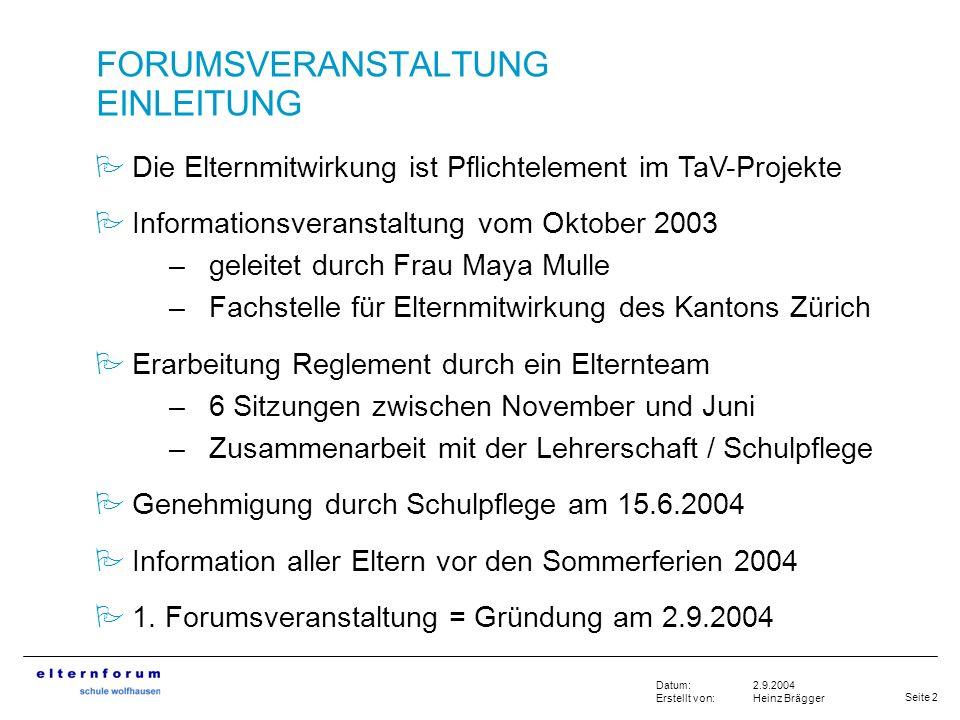 Seite 2 2.9.2004 Heinz Brägger Datum: Erstellt von: FORUMSVERANSTALTUNG EINLEITUNG Die Elternmitwirkung ist Pflichtelement im TaV-Projekte Information