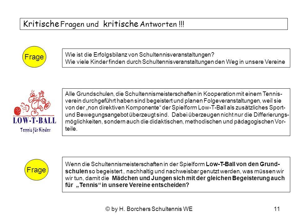 © by H.Borchers Schultennis WE11 Kritische Fragen und kritische Antworten !!.