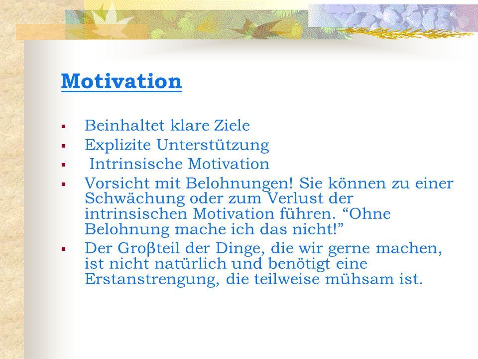 Motivation Beinhaltet klare Ziele Explizite Unterstützung Intrinsische Motivation Vorsicht mit Belohnungen! Sie können zu einer Schwächung oder zum Ve
