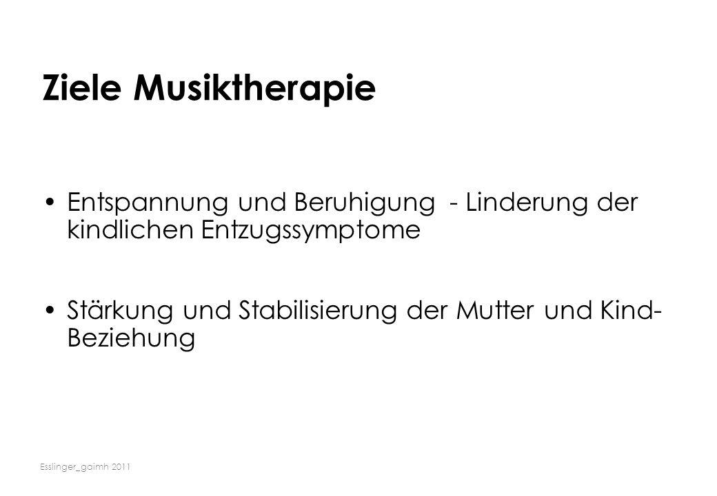 Esslinger_gaimh 2011 Ziele Musiktherapie Entspannung und Beruhigung - Linderung der kindlichen Entzugssymptome Stärkung und Stabilisierung der Mutter