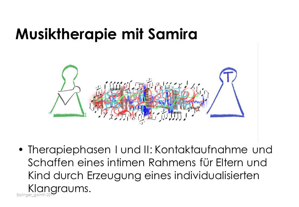 Esslinger_gaimh 2011 Musiktherapie mit Samira Therapiephasen I und II: Kontaktaufnahme und Schaffen eines intimen Rahmens für Eltern und Kind durch Er