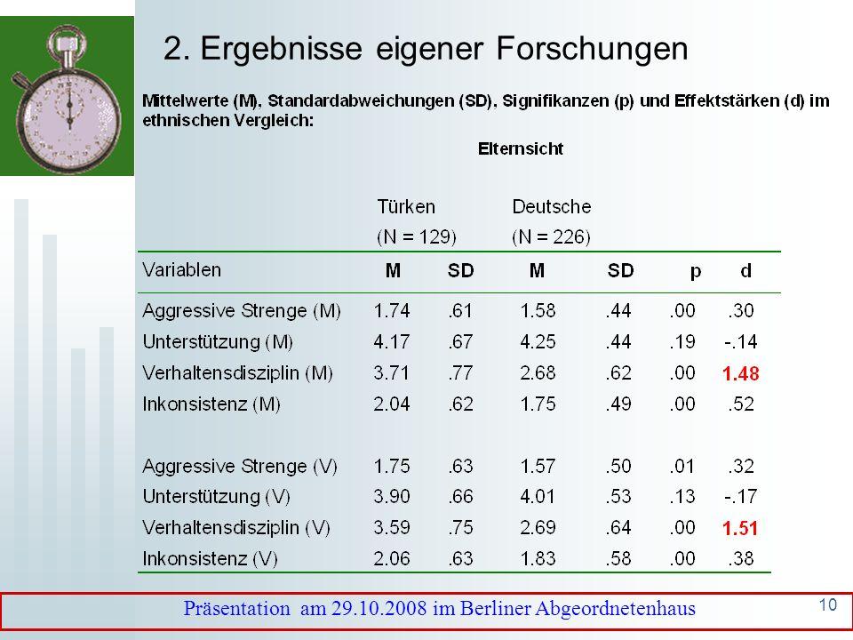 9 Erziehungsziele Rangreihe der Erziehungsziele deutscher Eltern (Scherberger, 1999) ErziehungszielRangplatz IIIIIIIVV Selbstständigkeit/Verantwortung