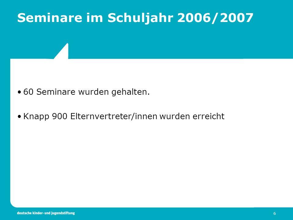 6 Seminare im Schuljahr 2006/2007 60 Seminare wurden gehalten. Knapp 900 Elternvertreter/innen wurden erreicht