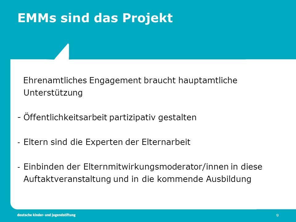 9 EMMs sind das Projekt Ehrenamtliches Engagement braucht hauptamtliche Unterstützung -Öffentlichkeitsarbeit partizipativ gestalten - Eltern sind die