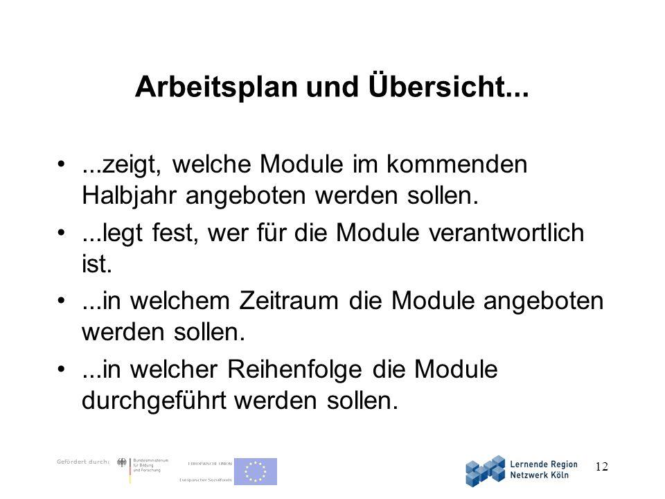Gefördert durch: 12 Arbeitsplan und Übersicht......zeigt, welche Module im kommenden Halbjahr angeboten werden sollen....legt fest, wer für die Module