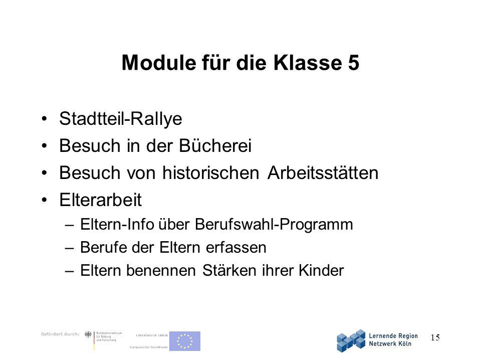 Gefördert durch: 15 Module für die Klasse 5 Stadtteil-Rallye Besuch in der Bücherei Besuch von historischen Arbeitsstätten Elterarbeit –Eltern-Info üb