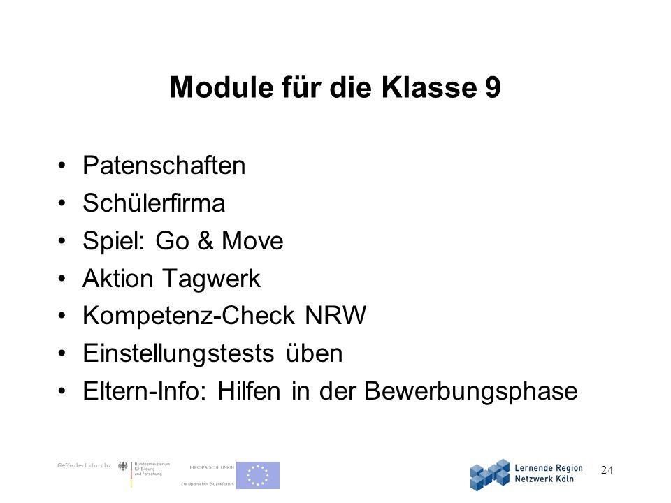 Gefördert durch: 24 Module für die Klasse 9 Patenschaften Schülerfirma Spiel: Go & Move Aktion Tagwerk Kompetenz-Check NRW Einstellungstests üben Elte