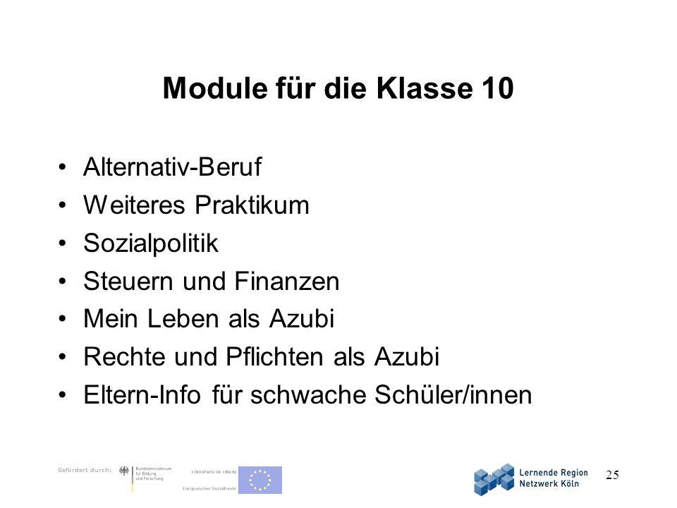 Gefördert durch: 25 Module für die Klasse 10 Alternativ-Beruf Weiteres Praktikum Sozialpolitik Steuern und Finanzen Mein Leben als Azubi Rechte und Pf