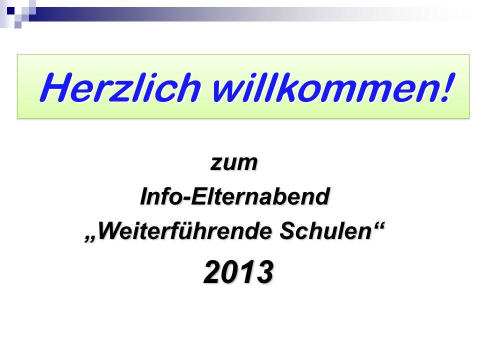 Herzlich willkommen! zumInfo-Elternabend Weiterführende Schulen 2013 2013