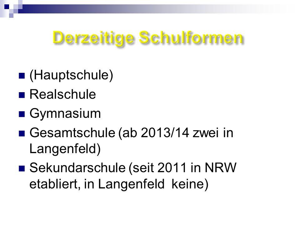 (Hauptschule) Realschule Gymnasium Gesamtschule (ab 2013/14 zwei in Langenfeld) Sekundarschule (seit 2011 in NRW etabliert, in Langenfeld keine)