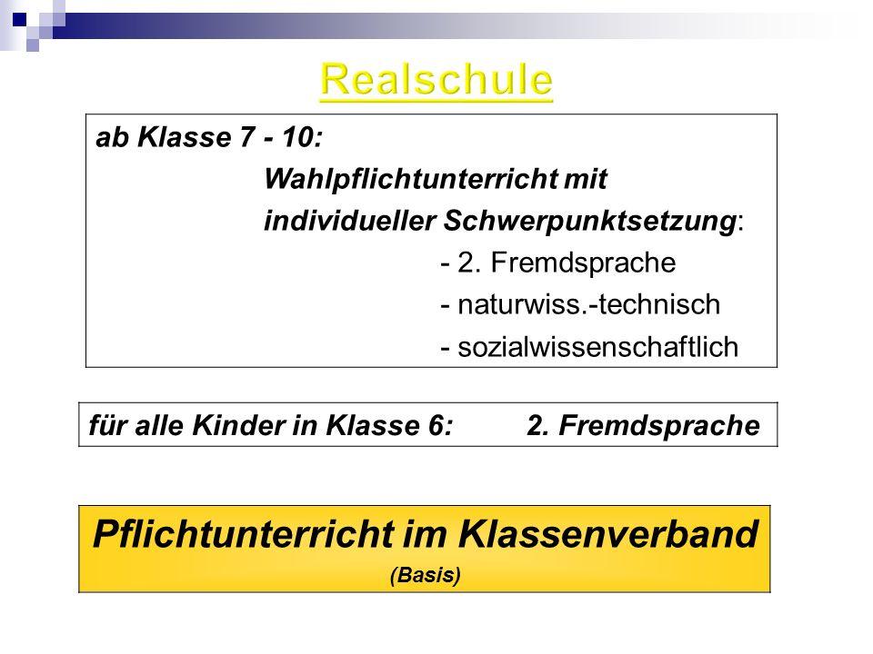Pflichtunterricht im Klassenverband (Basis) für alle Kinder in Klasse 6: 2. Fremdsprache ab Klasse 7 - 10: Wahlpflichtunterricht mit individueller Sch