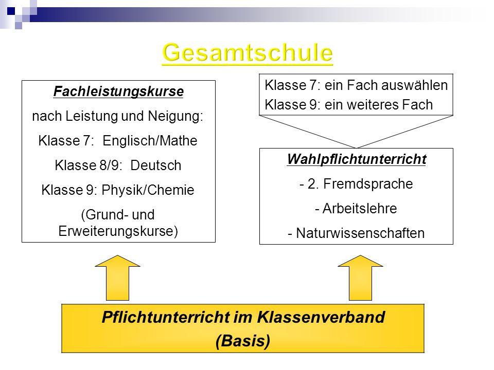 Pflichtunterricht im Klassenverband (Basis) Fachleistungskurse nach Leistung und Neigung: Klasse 7: Englisch/Mathe Klasse 8/9: Deutsch Klasse 9: Physi
