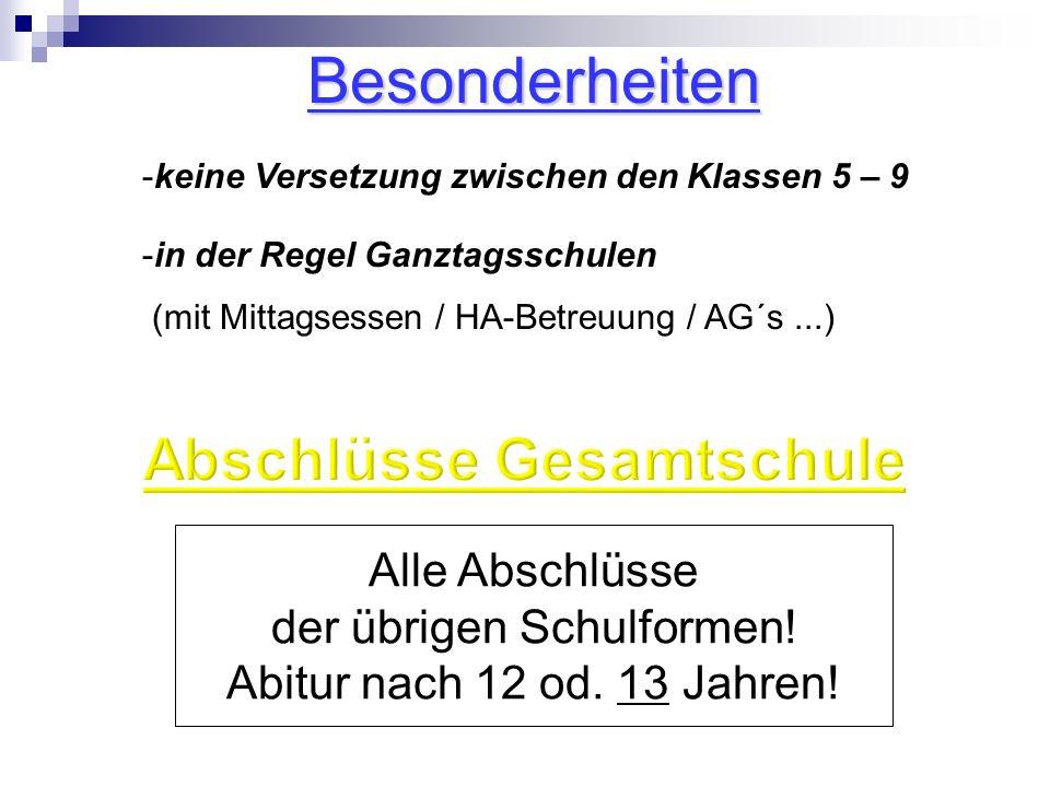 Alle Abschlüsse der übrigen Schulformen.Abitur nach 12 od.