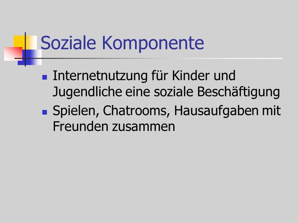 Soziale Komponente Internetnutzung für Kinder und Jugendliche eine soziale Beschäftigung Spielen, Chatrooms, Hausaufgaben mit Freunden zusammen