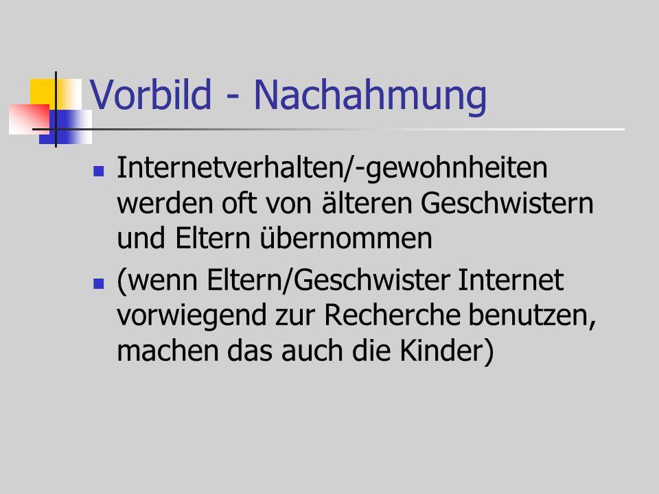 Vorbild - Nachahmung Internetverhalten/-gewohnheiten werden oft von älteren Geschwistern und Eltern übernommen (wenn Eltern/Geschwister Internet vorwiegend zur Recherche benutzen, machen das auch die Kinder)