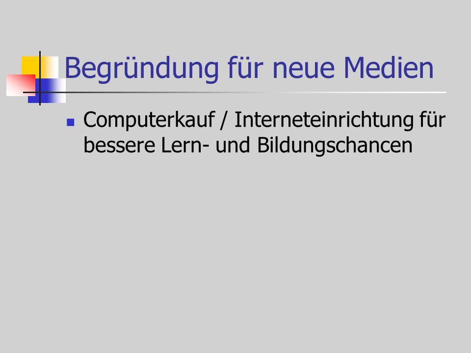 Begründung für neue Medien Computerkauf / Interneteinrichtung für bessere Lern- und Bildungschancen