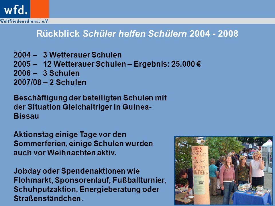 Rückblick Schüler helfen Schülern 2004 - 2008 2004 – 3 Wetterauer Schulen 2005 – 12 Wetterauer Schulen – Ergebnis: 25.000 2006 – 3 Schulen 2007/08 – 2