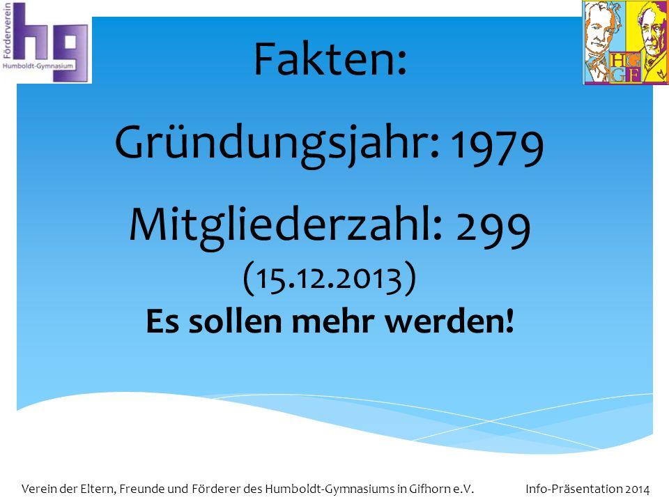 Verein der Eltern, Freunde und Förderer des Humboldt-Gymnasiums in Gifhorn e.V. Info-Präsentation 2014 Fakten: Gründungsjahr: 1979 Mitgliederzahl: 299